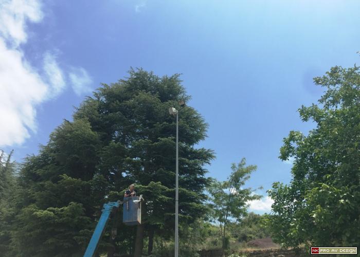outdoor loudspeakers crane install